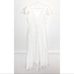 Love The Label Embroidered V-Neck Dress White XS